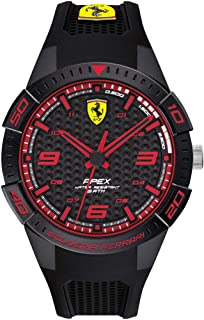 Ferrari Men's Apex Quartz Watch with Silicone Strap, Black, 18 (Model: 0830747)