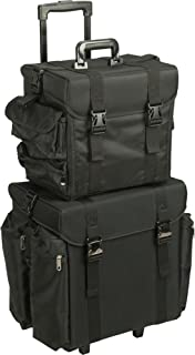 Sunrise 2-In-1 Soft-sided Rolling Makeup Case Professional Nail Travel Wheel Organizer Black Canvas, Pisani, 23 Pound