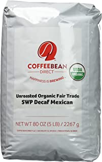 Green Unroasted Organic Swp Decaf Mexican, Whole Bean Coffee, 5-Pound Bag