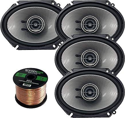 $105 » Kenwood KFC-D681C Car Speaker Package of 4 (2 Pairs) 720-Watt 6x8 Inch 3-Way Performance Series Coaxial Speakers Bundle Combo with Enrock 16-Gauge 50 Feet Speaker Wire