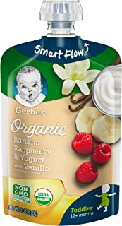 Gerber Purees Organic Banana Raspberry Yogurt Vanilla Toddler Pouch, 3.5 Ounces (Pack of 12)