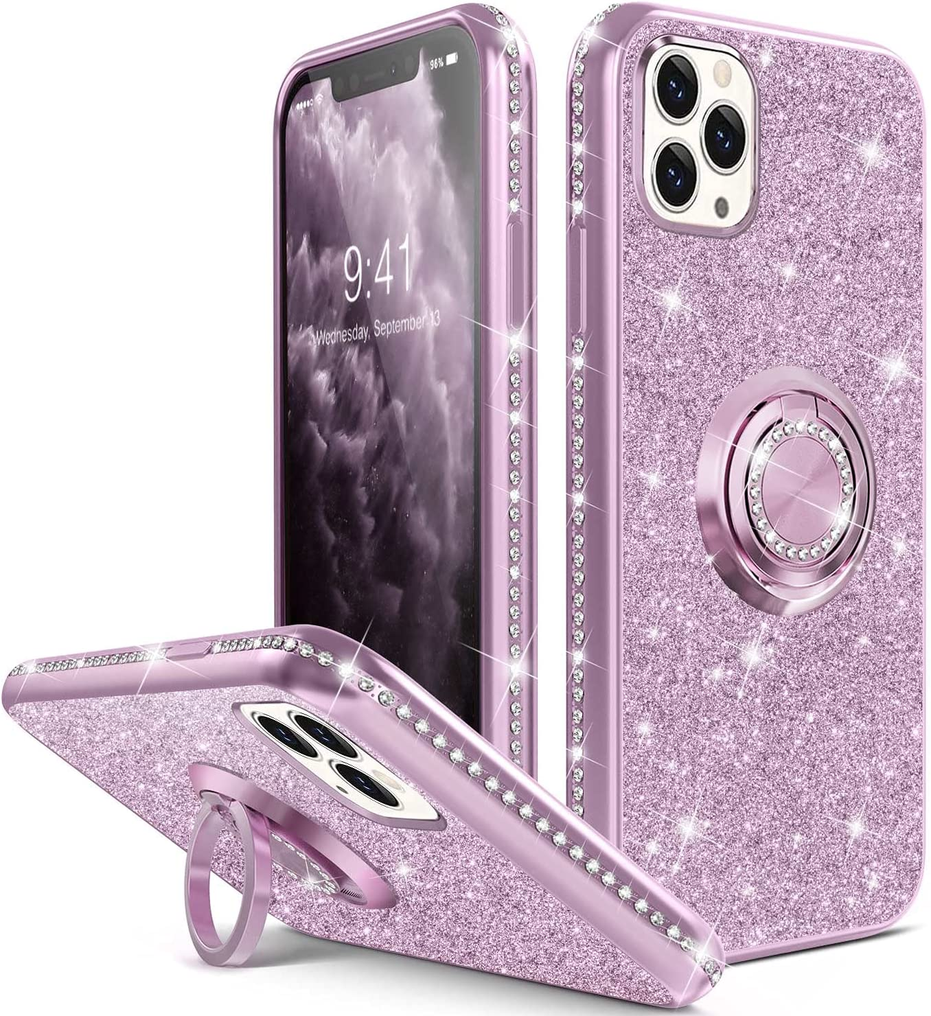 Thomo Compatible with iPhone 12 Pro Max Case,[Bling Kickstand] Cute Glitter Slim Full-Body Protective Bumper Phone Cases for iPhone 12 Pro Max Women Girls-Purple