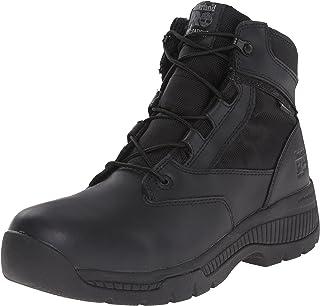 Timberland PRO Men's 6 inch Valor Soft Toe WP Work Boot, Black Smooth Leather Ballistic Nylon