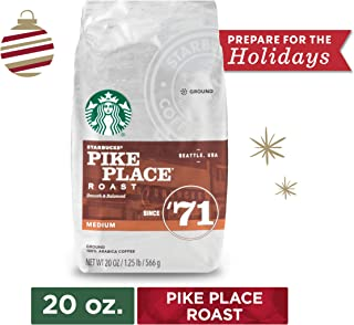 Starbucks Pike Place Roast Medium Roast Ground Coffee, 20 Oz. Bag | Great Holiday Gift for Coffee Lovers