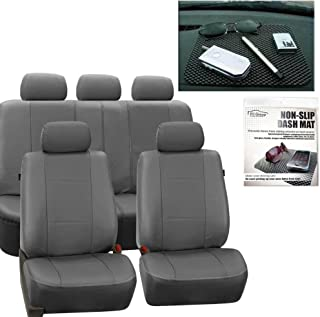 FH Group PU007115 Deluxe Leatherette Full Set Solid Gray Car Seat Covers, Airbag Ready and Split FH1002 Non-Slip Dash Grip Pad- Fit Most Car, Truck, SUV, or Van