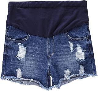 Ameyda Womens Maternity Distressed Denim Shorts