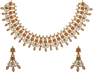 Tarinika Indian Jewelry Gold-Plated Necklace Set - White Red Green -- For Women and Girls