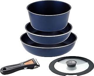 パール金属 フライパン 鍋 5点 セット IH対応 ダークブルー ダイヤモンドコート 取っ手の取れる セット5 HB-3975