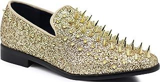 SPK09 Men's Vintage Spike Dress Loafers Slip On Fashion Shoes Classic Tuxedo Dress Shoes