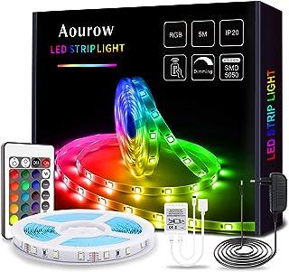 Aourow Tira LED 5m RGB,Tiras LED Flexible con Control Remoto de 24 Teclas y Adaptador de 12V,LED Strip Multicolor 5050 SMD...