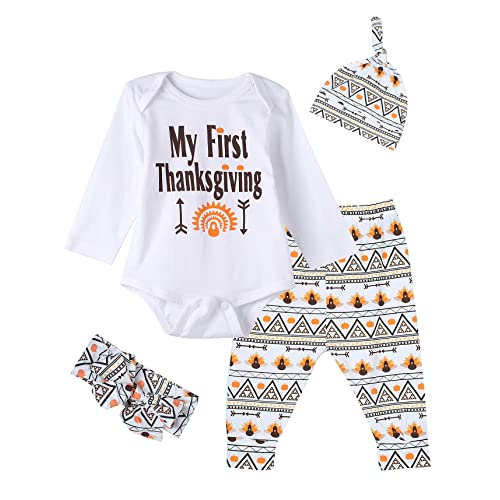 93bea91bf 4PCS Baby Boys Girls My 1ST Thanksgiving Outfit Set Long Sleeve Bodysuit  Pants with Hat and