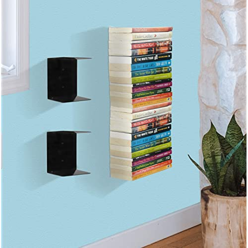 APPUCOCO Book Shelf Wall Mounted Heavy Duty Metal Invisible Book Shelves 2 Piece Per Pack (Made in India) with Screws & Plastic Anchors Included - Black