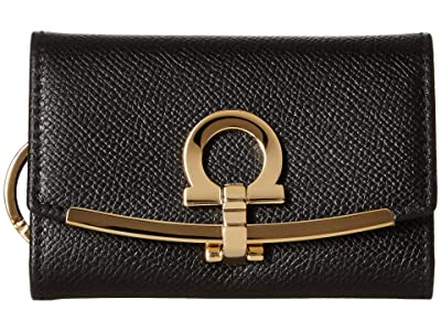 Salvatore Ferragamo Icona Ganchio Leather Key Case (Nero) Handbags