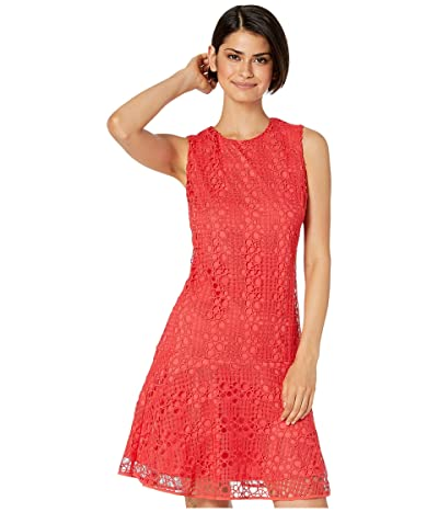 Sam Edelman Circle Lace Shift Dress (Coral Punch) Women