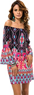 Long Sleeve Bell Trumpet Flared Flare Sleeve Off The Shoulder Baroque Ethnic Tribal African Aztec Mini Bodycon Dress