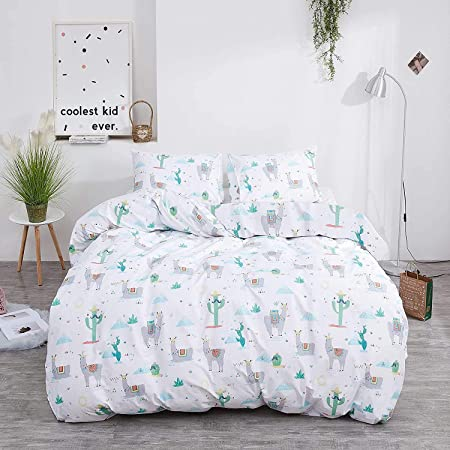 Girls Cute Llama Bedding Set Kids Cartoon Llama Alpaca Fitted Sheet for Children Boho Cactus Printed Bed Sheet Set Breathable Lovely Animal Rainbow Bed Cover Room Decor Queen Size