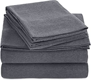 AmazonBasics Heather Cotton Jersey Bed Sheet Set - Queen, Dark Grey
