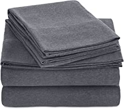 AmazonBasics Heather Jersey Sheet Set - (Includes 1 bedsheet, 1 Fitted Sheet with Elastic, 2 Pillow Covers) Queen, Dark Gray