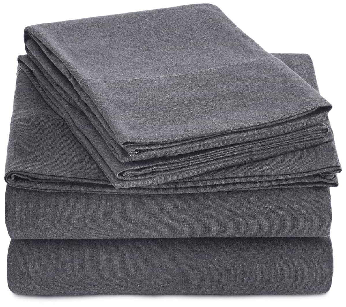 AmazonBasics Heather Jersey Sheet Set - Full, Dark Gray