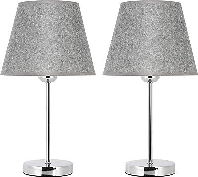 Lot de 2 lampes de chevet avec abat-jour en tissu, lampe de table avec base en métal argenté pour chambre à coucher, salon, fenêtre, commode, bureau, gris