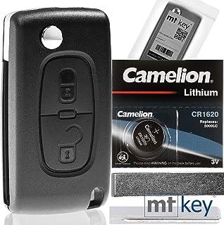 Klapp Schlüssel Gehäuse Funkschlüssel Fernbedienung Autoschlüssel 2 Tasten Rohling HU83 + Batterie kompatibel mit Citroen/Peugeot/FIAT