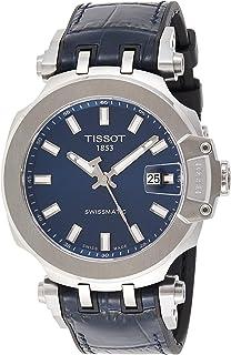 Men's T-Race Stainless Steel Swiss Automatic Sport Watch with Rubber Strap, Blue, 22 (Model: T1154071704100)