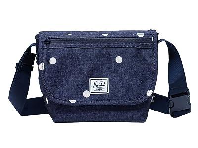 Herschel Supply Co. Grade Mini (Polka Dot Crosshatch Peacoat) Messenger Bags