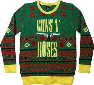 Guns N Roses Men's GNR Big Guns Ugly Christmas Sweater Sweatshirt Green