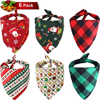 SATINIOR 6 Pieces Christmas Dog Bandana Washable Cute Head Scarf Pet Triangle Bibs for Pet Decorations Accessories