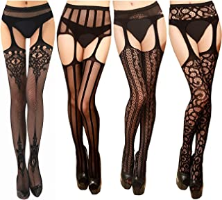 TGD Womens Fishnet Tights Suspender Pantyhose Thigh-High...