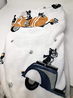 Lili Chin Designs Doggie Drawings Pet Plush Throw Blanket - Boston Terriers in Motorcycles or Scooters Dogs Talking