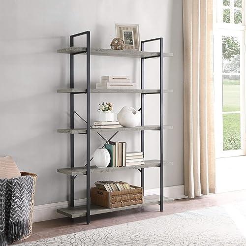 popular BELLEZE 5 Tier Industrial Bookshelf high quality Open Storage Organizer Etagere Book Shelf Wood and Metal Bookcases, Gray discount Wash online
