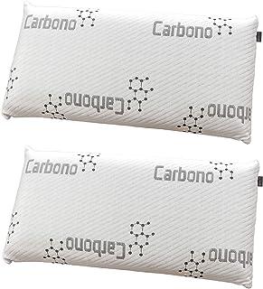 DHestia - Almohada Viscoelástica Carbono Activo Anti Malos Olores y Anti Humedades Doble Funda ViscoActive. (Pack 2 uds 75 cm)