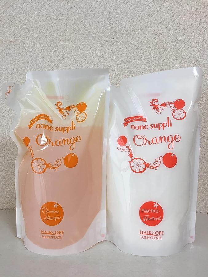 スリチンモイサーキュレーション手首サニープレイス ナノサプリ クレンジングシャンプー&コンディショナー オレンジ 800ml詰替えセット