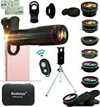 Cell Phone Camera Lens Kit,14 in 1 Universal 22x Zoom Telephoto,0.63Wide Angle+15X Macro+198°Fisheye+2X Telephoto+Kaleidoscope+CPL/Starlight/Eyemask/Tripod/Remote Shutter,For Iphone Smartphone (black)