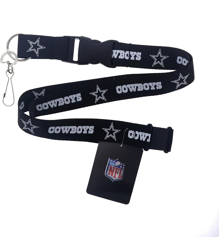 Sports Football Lanyard Fan Keychain (Cowboys-Black)