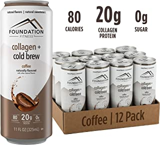 Foundation Fitness Cold Brew Coffee plus Collagen Protein, Unsweetened, Ready to Drink, 0g Sugar, 11 fl oz (Pack of 12)