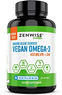 Vegan Omega 3 Supplement - Fish Oil Alternative Source for EPA & DHA Fatty Acids - for Joint Support & Immune System - Heart & Skin + Brain Health Booster - Marine Algal Formula - 120 Softgels
