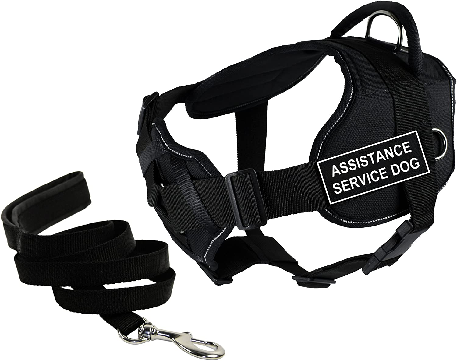 Dean & Tyler's DT Fun Chest Support ASSISTANCE SERVICE DOG Harness with Reflective Trim, Small, and 6 ft Padded Puppy Leash.