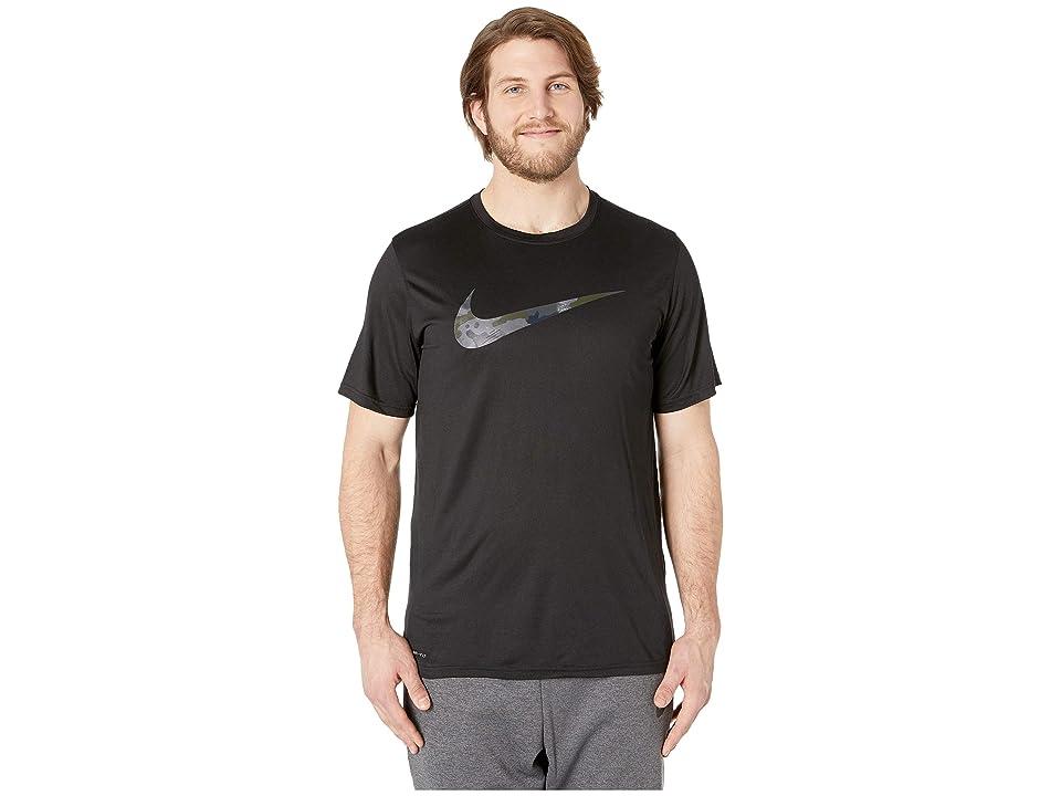 0192f39c Nike Big Tall Dry Legend Tee Camo Swoosh (Black/Dark Grey) Men's T Shirt