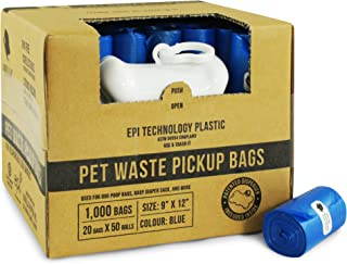 Gorilla Supply Dog Waste Bags with Patented Dispenser and Leash Tie, Unscented, EPI Additive (Meets ASTM D6954-04 Tier 1), 1000 Count