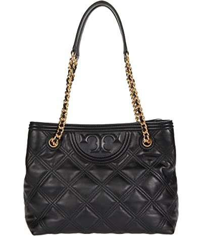 Tory Burch Fleming Soft Tote (Black) Handbags