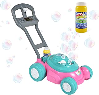 Sunny Days Entertainment Maxx Bubbles Bubble-N-Go Toy Lawn Mower with Refill Solution, Pink