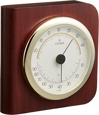 シチズン 温度計 ・ 湿度計 アナログ TM148 置き掛け兼用 タイプ 木枠 茶 CITIZEN 9CZ094-006