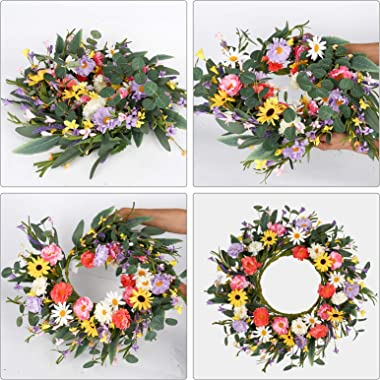 """Artificial Flower Wreath,20"""" Purple Yellow White Pink Floral Wreath Spring and Summer Wreath Front Door Wreath for Home Party"""
