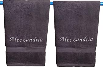 Liberty21 Monogrammed Personalized Name Hand Towels. Custom Embroidered Towels. Set of Two. (Grey)