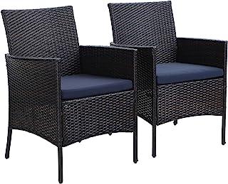 PHIVILLA Juego de 2 sillas de ratán Fabricadas en Polyrattan y Estructura de Acero, Silla de jardín para jardín y balcón Impermeable