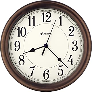 JUSTIME 8.5 inch Simply High-end Beige Plastic Easy to Read Decorative Wall Clock, Water Resistant, Special for Small Space, Office, Boats, RV (W86381 Oil Rubbed Bronze)