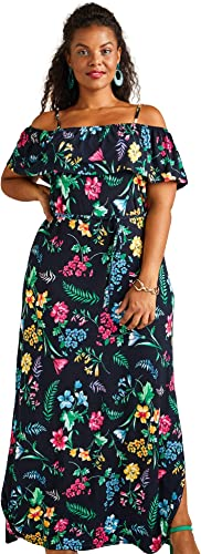 YUMI noir Curves Tropical Print Maxi Robe