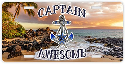 ThisWear Captain Awesome License Plate Boating Gifts for Men Sailing Gifts for Women Boat Captain Funny Boating Novelty License Plate Captain